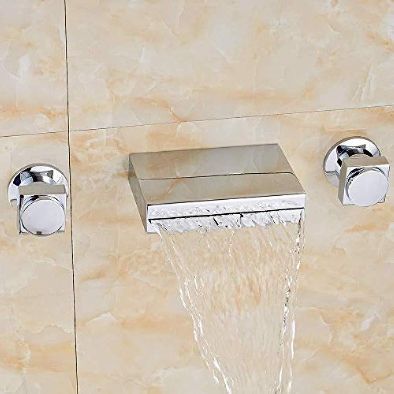 DOMOUDOKüchenarmaturen Waschtischarmaturen Chrom Wasserfall Waschbecken Wasserhahn Zwei Griffe Wandmontage Wannenmischbatterie