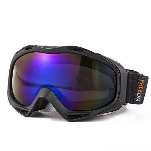 FREEM Skibrille für Damen & Herren, OTG Snowboardbrille mit Rahmen, Schneebrille 100% UV-Schutz Anti-Nebel, Helmkompatible Ski Goggles für Skifahren, Skaten, Snowboarden