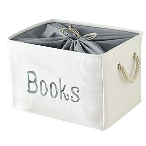 INough Book Basket for Kids Book Storage Box, Baby Storage Basket for Kids Room, Baby Book Storage Basket for Nursery/Classroom/Bedroom, for Nursing Books/Magazines/Story(Large, Books)