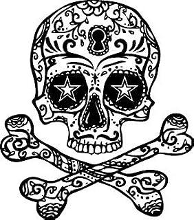 Amazon Com Halloween Skull Cross Bones Temporary Tattoo Set