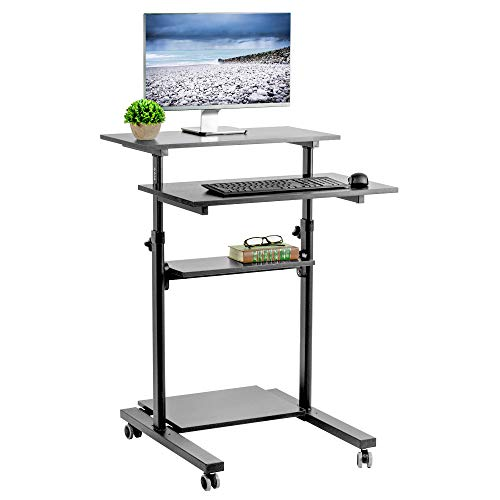 VIVO Black Mobile Height Adjustable Table Stand Up Desk with Storage, Computer Workstation Rolling Presentation Cart...