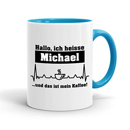 True Statements Tasse Hallo ich heisse Wunschname und das ist mein Kaffee personalisiert - personalisierte Kaffeetasse mit Wunsch-Name - hellblau