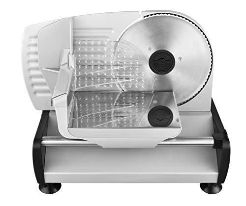 Venga! Universal Elektro-Allesschneider, Edelstahl, 19 cm Klinge aus Edelstahl, bis zu 15 mm Regelung der Schneidstärke, 150 W, Silber, VG AS 3003