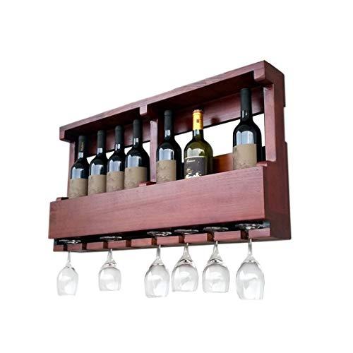 COOLSHOPY Estante de madera para colgar en la pared, estilo vintage, con capacidad para 8 botellas de vino y 8 copas