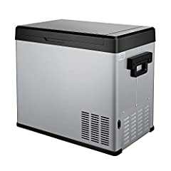 COMPRESSOR COOLING TECHNOLOGY:High quality brand compressor provides fast and deep cooling performance from 68ºF to -13ºF, LCD PANEL with temperature and ECO/MAX Mode selection Accessories:This 54 Quart(50 Liter)Car Refrigerator Includes 2 power cabl...