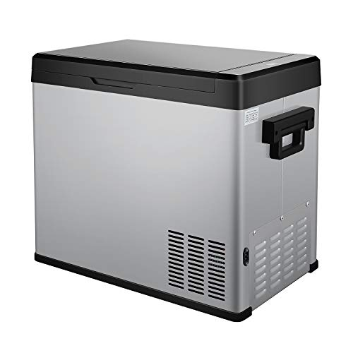 54 Quart RV Refrigerator/Freezer Compact Vehicle Car Fridge Compressor Electric Cooler for Car,Truck,RV,Boat,Outdoor and Home use 12/24V DC and 90-250 AC,Cooling from 68ºF to -13ºF