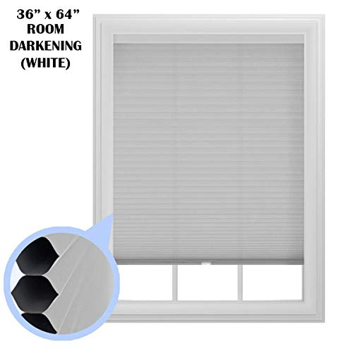 "36"" x 64"" Room Darkening Cellular Window Shade, Cordless, Trimmable (White)"
