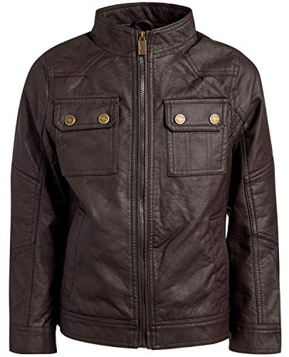 Urban Republic Boy's Faux Leather Officer Jacket, Dark Brown, Size 14/16'