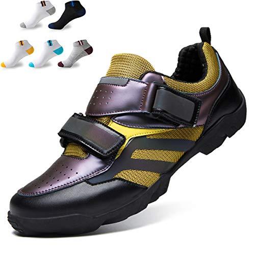 XFQ Ciclismo Casual Zapatos, Zapatos De Moda De La Bici Adultos Reflectante Antideslizante No Lock Camino De La Montaña Zapatos De Ciclo con 5 Pares De Calcetines Deportivos,Púrpura,44EU