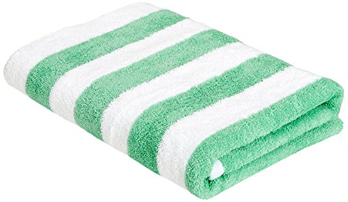 Amazon Basics - Toalla de playa, de rayas Cabana, color verde, pack de 1