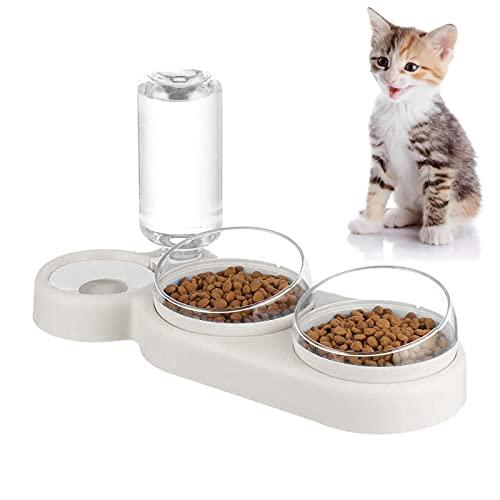 AMOOM - Ciotole per gatti, 3 in 1 per cani, gatti, ciotole automatiche, con inclinazione di 15° e doppia ciotola girevole a 360°, staccabile da 500 ml, per cani e gatti