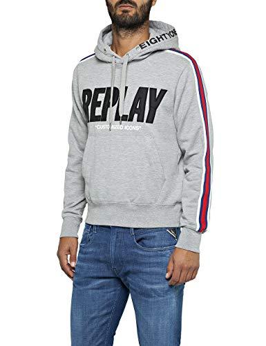 Replay Herren M3797 .000.21842 Sweatshirt, Grau (Light Grey Melange. M05), Medium (Herstellergröße: M)