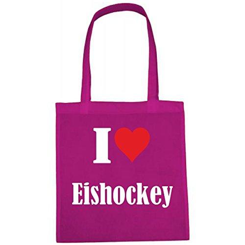 Tasche I Love Eishockey Größe 38x42 Farbe Pink Druck Weiss