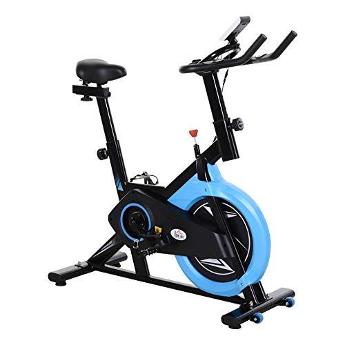 homcom Cyclette Professionale con Schermo LCD e Supporto per Cellulare, Cyclette da Camera Resistanza Sellino Manubrio Regolabili, 2 Ruote, Volano 6kg, Nero Blu