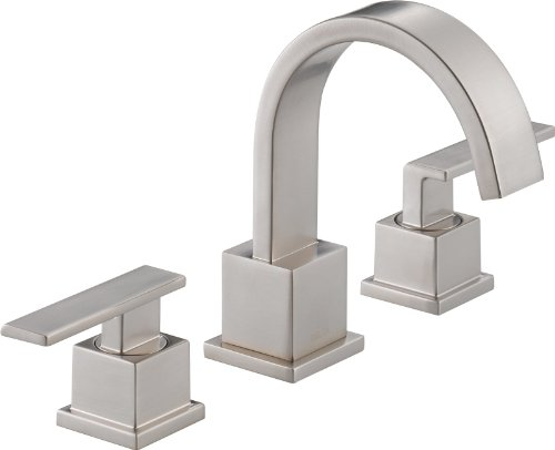 Delta Faucet Tesla Widespread Bathroom Faucet Brushed Nickel, Bathroom Faucet 3 Hole, Diamond Seal Technology, Metal Drain Assembly, Stainless 3552-SSMPU-DST