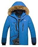 Wantdo Giacca da Snowboard Running Giacca Outdoor Primaverile Giacca da Neve in Pile Warm Jacket for Work with Hooded Warm Uomo Azzurro Chiaro e Blu Verde L