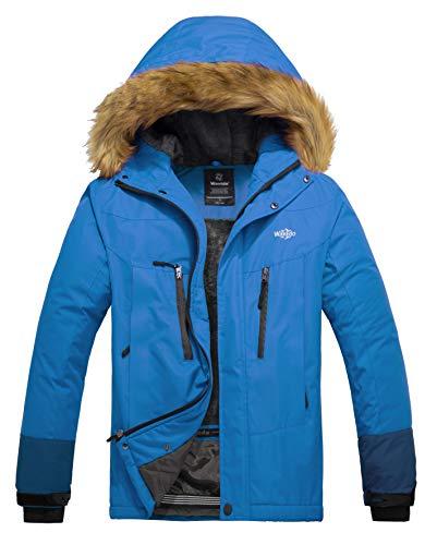 Wantdo Cappotto da Snowboard con Cappuccio Antivento Impermeabile Caldo Uomo Azzurro Chiaro e Blu Verde Medium