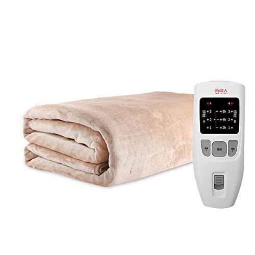 JiaQi Komfort wärme-unterbett,Wärmeunterbett,Sicherheit Doppelte Kontrolle Thermostat Auto-Off-Funktion Wärmende matratzenauflage-Khaki 180x120cm(71x47inch)