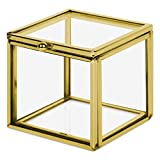 Koyal Wholesale Gold 2.36-inch Square Cube Glass Ring Box for Proposal, Engagement, Wedding Ceremony, Ring Bearer, Gift, Keepsake, Jewelry Organizer Holder Display Case