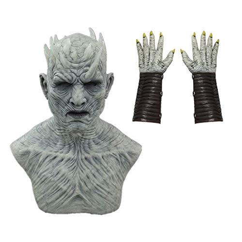 T-XYD Mscara de Rey de la Noche Diablo Fantasma Guantes de mscara de ltex de Terror Accesorios de Disfraz de Cosplay de Zombie de Caminante Blanco para la Fiesta de Disfraces de Halloween,Kit