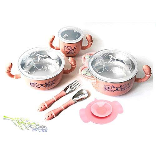TITST 5 Zoll Baby Ergänzungsfutter Schalen 304 Edelstahl Geschirr Geschirr für Kinder Isolierschalen Saugnapf Schüssel für Kinderpink