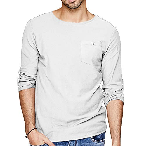COOFANDY - Camiseta de manga larga para hombre, mezcla de algodón, ajuste regular, transpirable, cuello en V, monocolor, para verano blanco L