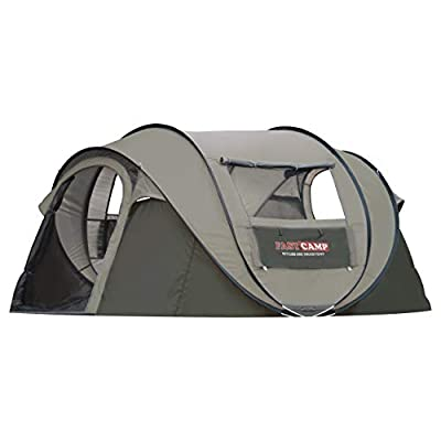 FASTCAMP Mega5, 4-Person pop up Tent - Automatic Instant Tent - for Picnic&Camping Portable Cabana Beach Tent Tent,4 Windows,Privacy Wall,Carry Bag Included