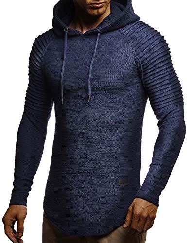 Leif Nelson Herren Kapuzenpullover Slim Fit Baumwolle-Anteil Moderner weißer Herren Hoodie-Sweatshirt-Pulli Langarm Herren schwarzer Pullover-Shirt mit Kapuze LN8128 Dunkel Blau X-Large