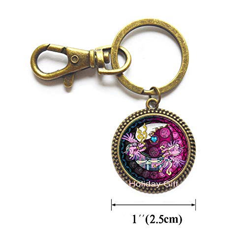 Magic Horse s Long Chain Keychain Birthday Gifts Anime Jewelry,Horse Lover Gift,Silver Horse Keychain,BFF Gifts.HTY-210