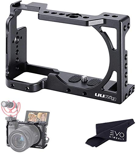 C-A6400 Gaiola de câmera para Sony A6400 e A6300   Gaiola de vlog de metal completo com roscas 1/4, suporte ARRI e sapato frio para microfones, luzes, alças e monitores (gaiola C-A6400/A6300)