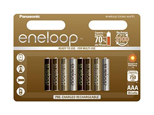 Panasonic eneloop Earth, Ready-to-Use Ni-MH Akku, AAA Micro, 8er Pack, min. 750 mAh, 2100 Ladezyklen, geringe Selbstentladung, limitierte Sonderedition