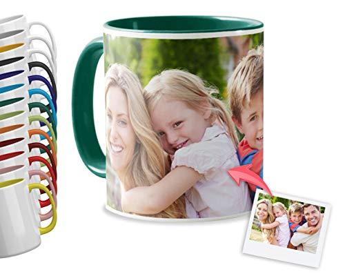 Tazas Personalizadas con el Interior y asa de Color   Diséñalas con Fotos y Texto   Tazas Color: Verde Oscuro