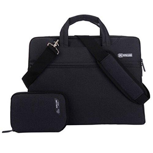 Sacoches Imperméable pour Ordinateur Portable 15 pouces, Sac à Bandoulière Noir en Lin pour Ordinateur Portable