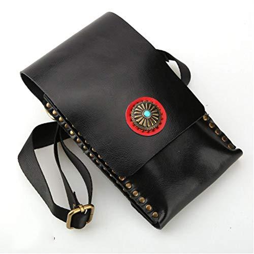 YUXINCAI Professional Hairpack Pocket Bag Épaule Coiffeur Peigne Ciseaux en Cuir Véritable Coiffeurs Titulaire Holster Pouch,Black