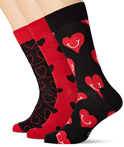 Happy Socks Gemischt farbenfrohe Geschenkbox an Baumwollsocken für Männer & Frauen,Schwarz-rot (I Love You),41-46