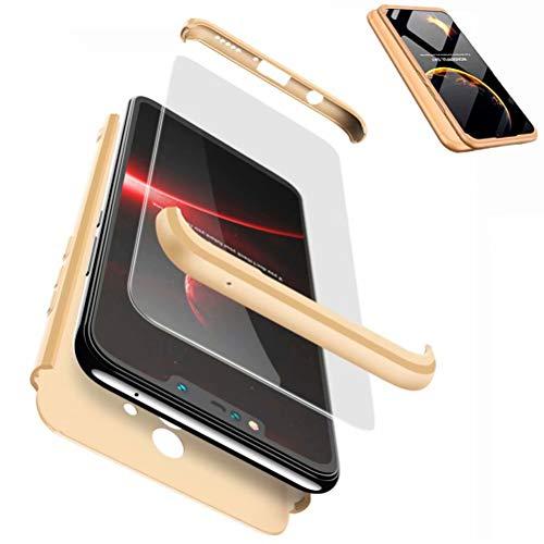 JJWYD Funda para Huawei Mate 20 Lite + Gratis Cristal Templado, para Huawei Mate 20 Lite Funda 3 in 1 Hard Caja Caso PC Protective Ultra Delgado Anti-rasguños Case Cover Caso - Gold