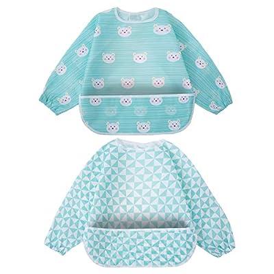 Long Sleeved Bib Baby Waterproof Bibs Feeding Bibs Apron with Built-in Pocket Bag?Blue Baby Bibs?