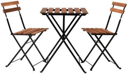 Sedie Giardino Legno Ikea.Ikea Acacia Tavolo Da Giardino Tarno Con 2 Sedie Marrone Scuro Amazon It Giardino E Giardinaggio