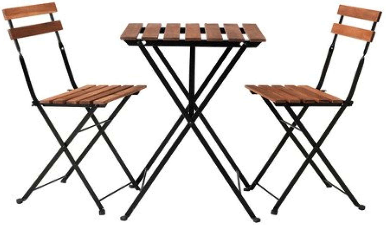 Ikea Trn Tisch + 2Stühle, Outdoor, schwarz Akazie, Stahl Graubraun gebeizt