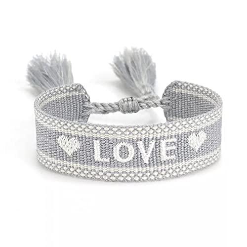 Pulseras de tela LOVE para pareja y boda, pulsera de cuerda hecha a mano, pulseras de amistad para mujeres, hombres, hermanas, regalo de joyería Pulsera de la amistad regalo de cumpleaños