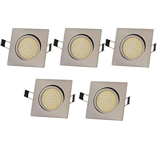 Lu-Mi 5x LED Einbaustrahler Flach 230V 3,5W Deckenspots LED Spot Ultraflach Edelstahl Gebürstet Einbauleuchten, Einbauspot Eckig, Schwenkbar, 350 Lumen, Warmweiß oder Kalweiß (Warmweiß)