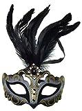 VENTURA TRADING MX3 Negro Máscara de la Mascarada Mascarilla Veneciana Decoración de Plumas Mujer Mascarada Disfraz Fiesta Pelota Paseo