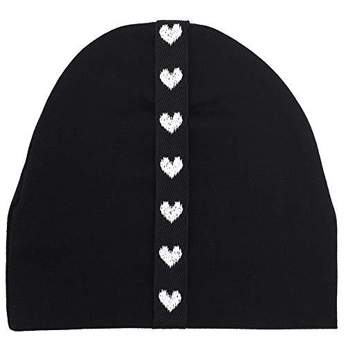 Beanie Hat Soft Cotton Star Heart Ribbon Beanie Hat Girls Boys Skullies Hats Gift-Black_White_Love
