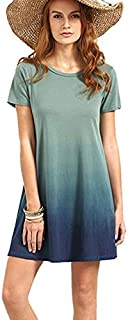 Round neck mixed color short sleeve dress