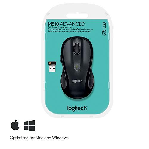 Logitech M510 Kabellose Maus, 2.4 GHz Verbindung via Unifying USB-Empfänger, 1000 DPI Laser-Sensor, 24-Monate Akkulaufzeit, 7 Tasten, PC/Mac – Schwarz, Englische Verpackung - 7