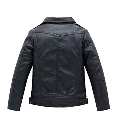 YoungSoul Jungen Mädchen Kunst Lederjacke Kragen Motorrad Leder Mantel Kinder Biker Style Herbst Winter Jacke mit Fellkragen Schwarz 7-8T/Körpergröße 135cm - 2
