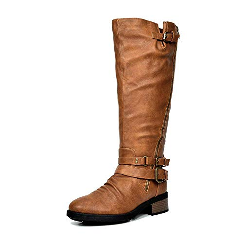 DREAM PAIRS Women's Atlanta Camel Fur Lined Knee High Riding Boots Wide Calf Size 9.5 M US
