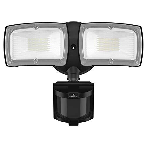 LED Security Lights, 28W 3000LM Motion Sensor Light Outdoor, GLORIOUS-LITE Super Bright 2 Head Outdoor Flood Light, 5500K, IP65 Waterproof, ETL Certified for Garage, Yard, Porch (NO Solar Power)