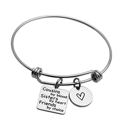 cousins jewelries JINGMARUO Cousin Gifts Cousin Bracelet for Women Gift for Cousins Friendship Cousins by Blood Sister by Heart