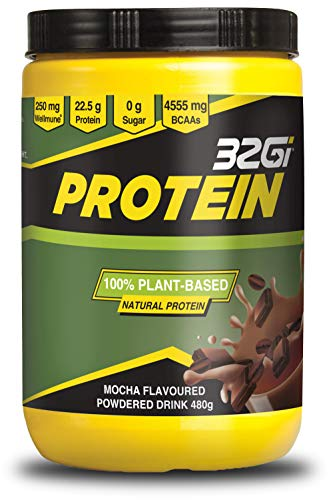 Vegan Protein Powders | 100% Natural Plant Based Protein Powder | Rice & Pea Protein | Strong Immune Support with Wellmune | BCAA | Diary Free | Soy Free | 22g of Protein - Mocha 480g